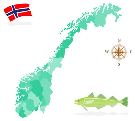 Map of Norway, regions and departments