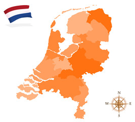 Map of Netherlands, regions and departments