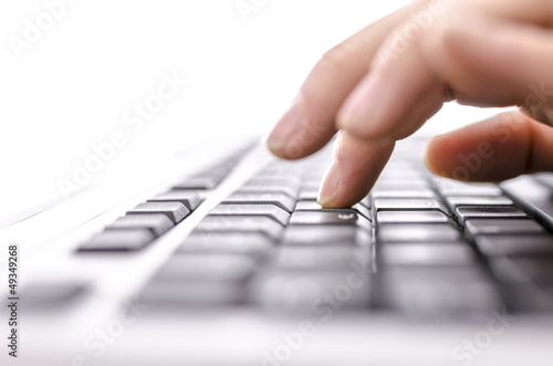 canvas print picture Business woman typing on keyboard