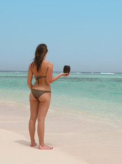 beautiful woman in a tropical beach