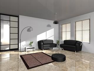 Modernes Wohnen in Schwarz