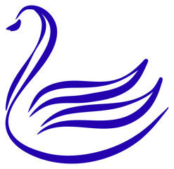 Drawn stylized swan in blue