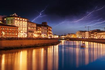 Pisa at Night in Lungarni, Illuminated Buildings