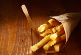Crinkle cut golden french fries poster