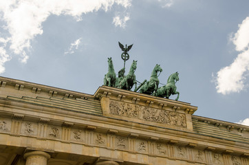 Quadriga sculpture on top of Berlin Brandenburg Gate