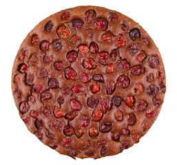 chocolate cherry tart isolated on white