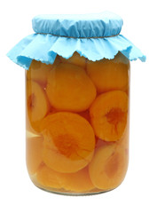 isolated jar of peaches
