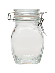 empty glass jar with clipping path