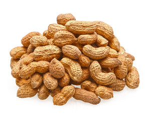 pile of peanuts in shell isolated on white