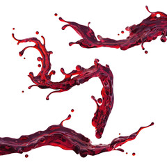 cherry juice or red wine dynamic liquid splash