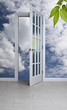 White door and blue sky