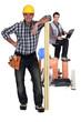 Happy carpenter and builder