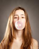 woman making a bubble