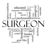 Surgeon Word Cloud Concept in Black and white