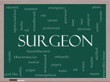 Surgeon Word Cloud Concept on a Blackboard