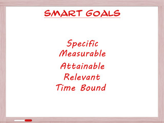 Smart Goals on White Erase Board