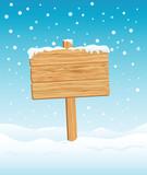 Fototapety Blank Wooden Sign in Winter