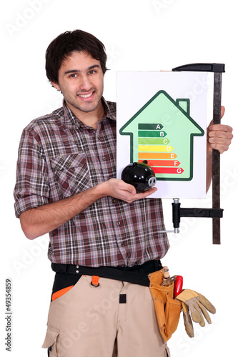 Man holding up an energy efficiency rating sign
