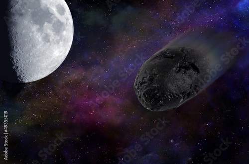 Asteroid passing by the Moon