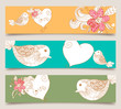 Valentine love birds and blossom banner set