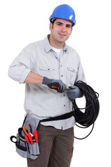 Electrician preparing cable