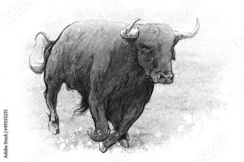 Papiers peints Taurin Tattoo art, dangerous bull with beaked horns