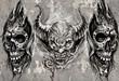 Tattoo art, 3 demons over grey background, Sketch