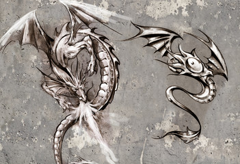 Tattoo art illustration, dragons over grey wall