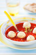 Tomato soup with vegetables and turkey meatballs