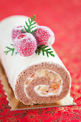 Swiss roll with cinnamon and apples, selective focus