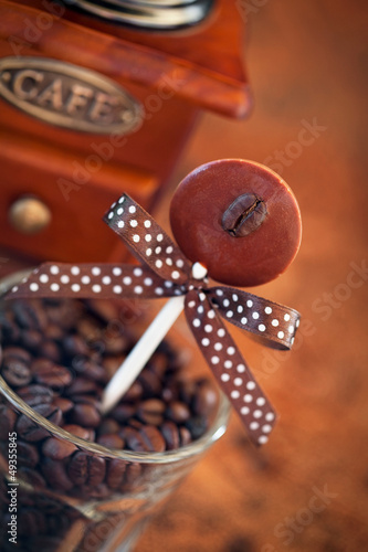 Chocolate coffee flavored lollipops, selective focus