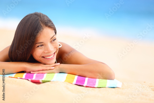 Relaxing beach woman happy