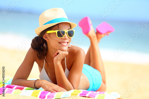 Beach woman funky happy and colorful