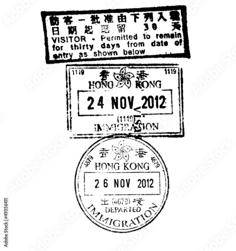 Hong Kong immigation stamp on white background
