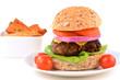 Hamburger on healthy whole grain bun