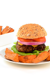 Hamburger on healthy whole grain bun