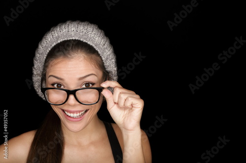 Cool hipster student wearing eyewear glasses