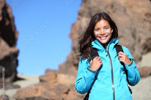 People hiking - hiker woman happy portrait