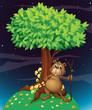 A beaver under a big tree
