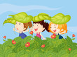 Three little kids playing in the garden