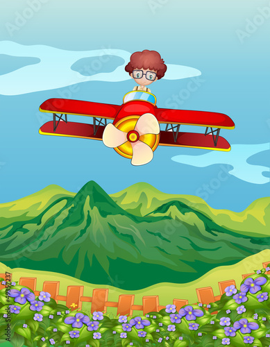 A boy and an airplane