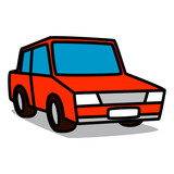 Cartoon Car 01 : Red Sedan