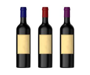 Wine Bottles Isolated on White Background