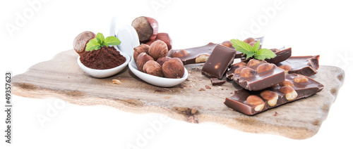 Hazelnut Chocolate isolated on white