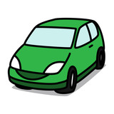 Cartoon Car 06 : Green Hatchback