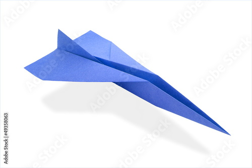 blue origami airplane
