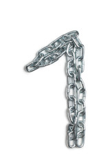 Number one from metal chain