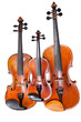 three sizes of violins