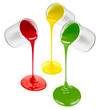 pouring colorful paints isolated on white
