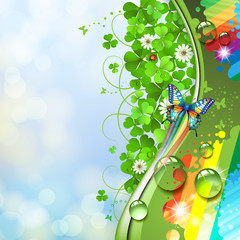 Colorful background with butterfly and clover